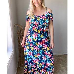 New Look Cold Shoulder Tropical Floral Maxi Dress